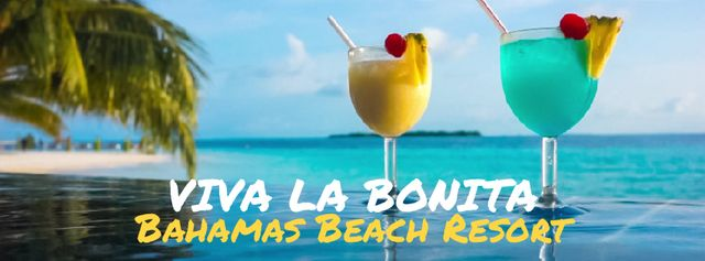 Glasses with cocktails on tropical beach Facebook Video cover Modelo de Design