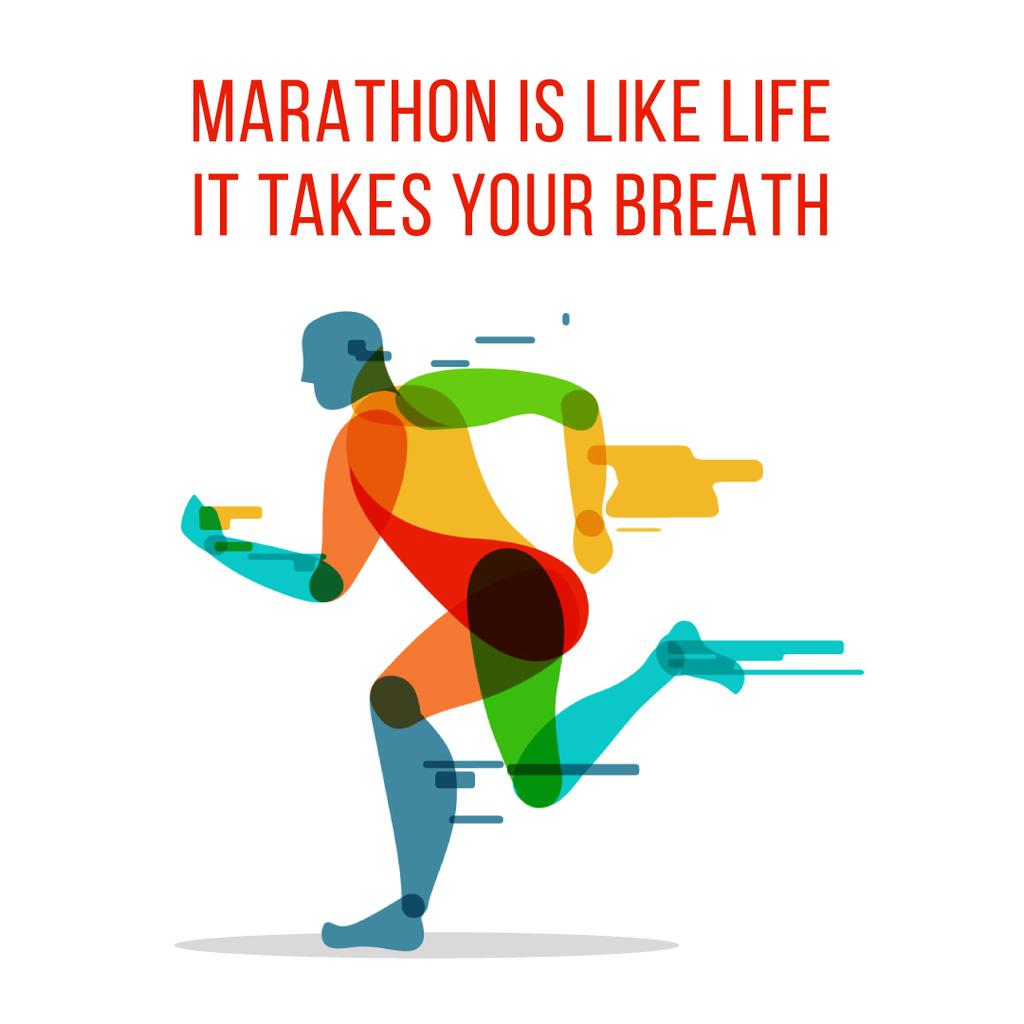 Marathon with Running man silhouette — Créer un visuel