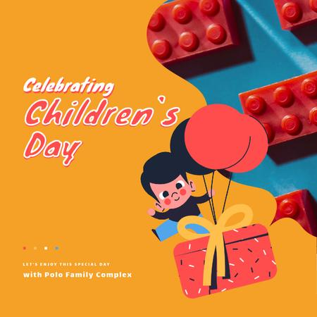 Designvorlage Happy kid with Gift on Children's Day für Animated Post