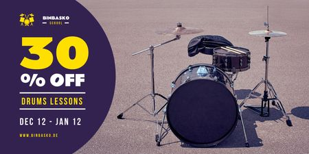 Plantilla de diseño de Drums Lessons Ad with Kit on Street Twitter