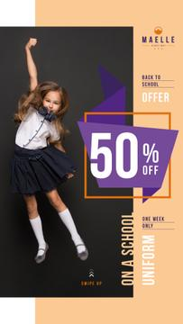 Back to School Offer Jumping Schoolgirl