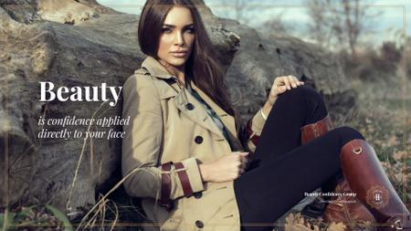 Plantilla de diseño de Woman wearing outdoor clothes Presentation Wide