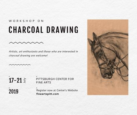 Drawing Workshop Announcement Horse Image Facebook Modelo de Design