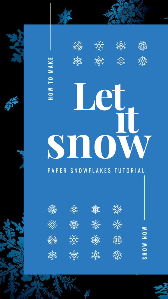 Plantilla de diseño de Blue snowflakes pattern Instagram Story