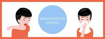 Immunization Center ad with Man sneezing