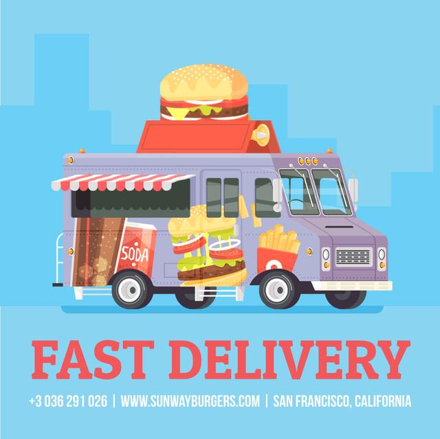 Van delivering food Animated Post Tasarım Şablonu