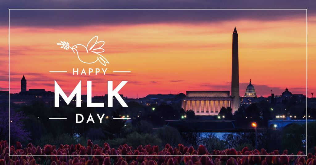 Martin Luther King day Greeting Evening City View — Create a Design
