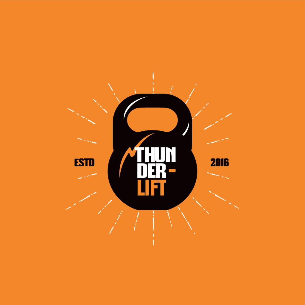 Sport Club Ad with Kettlebell Icon — Crear un diseño