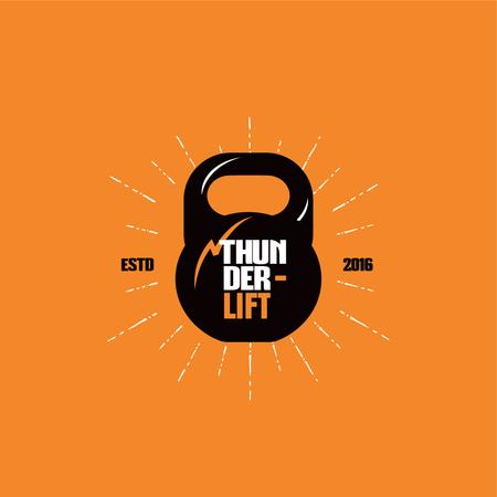 Sport Club Ad with Kettlebell Icon Logo Tasarım Şablonu