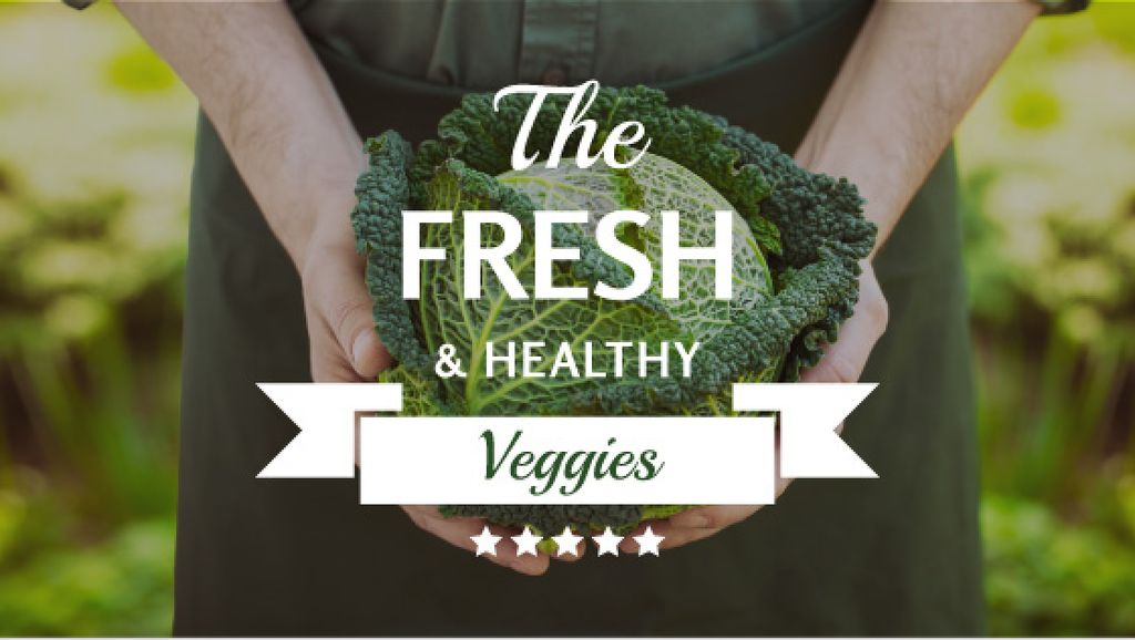 Fresh veggies poster with farmer — Создать дизайн