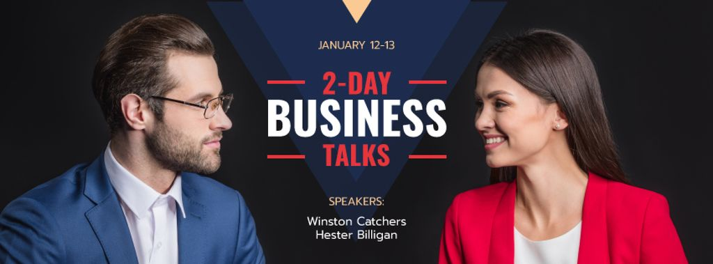 Business Talks Invitation with Smiling Man and Woman — Crear un diseño
