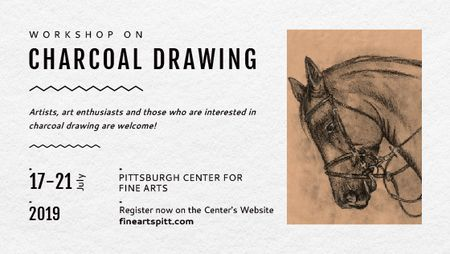 Drawing Workshop Announcement Horse Image Title Modelo de Design