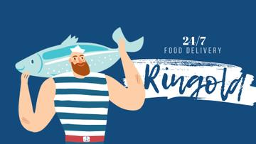 Food Delivery Service Fisherman with Big Fish | Full Hd Video Template