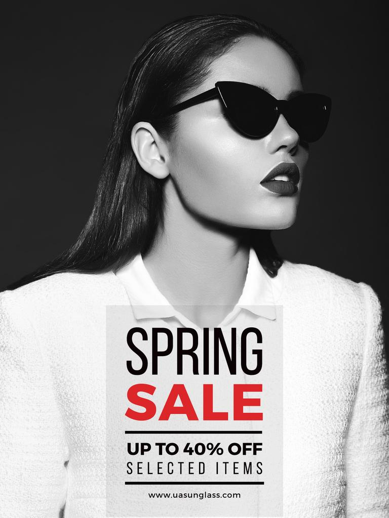 Spring sale poster with woman in sunglasses — Create a Design