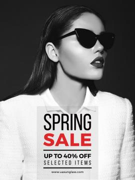 Spring Sale with Beautiful Girl in Black and White