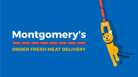 Butchery Offer Cat Swinging on Sausages Full HD video Tasarım Şablonu