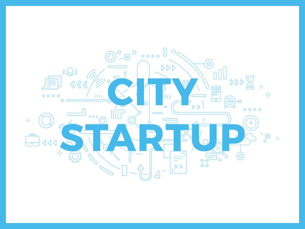 City Startup with Digital Devices Icons and Network — Modelo de projeto