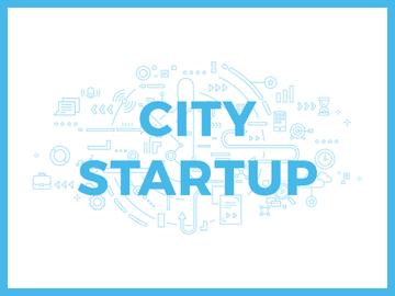 City Startup Digital Devices Icons and Network | Presentation Template
