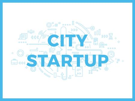 City Startup with Digital Devices Icons and Network Presentation – шаблон для дизайну