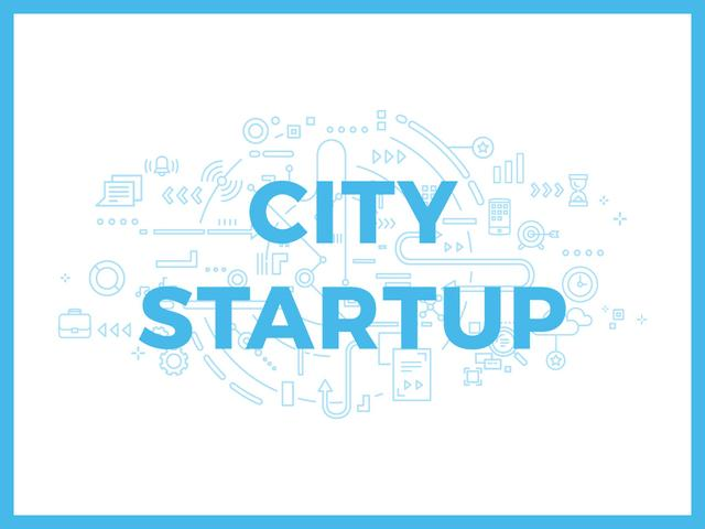 City Startup with Digital Devices Icons and Network Presentation Design Template
