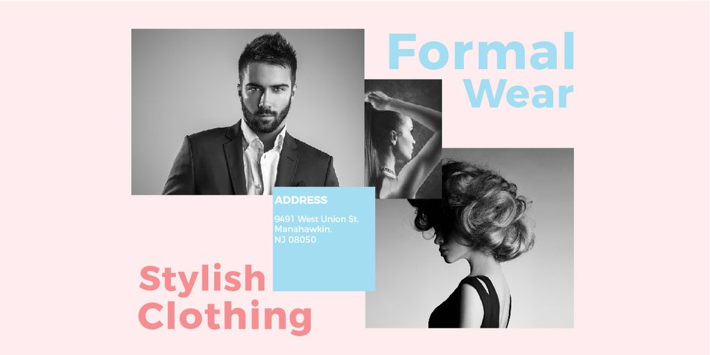 Fashion Ad Woman and Man with modern hairstyles Image Design Template