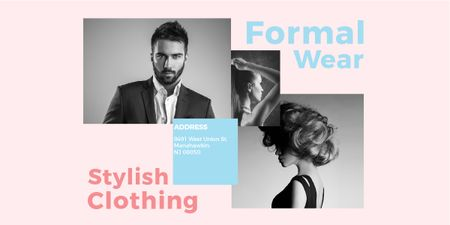 Fashion Ad Woman and Man with modern hairstyles Image – шаблон для дизайна