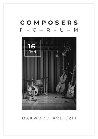 Composers Forum Invitation wit Instruments on Stage Poster Tasarım Şablonu