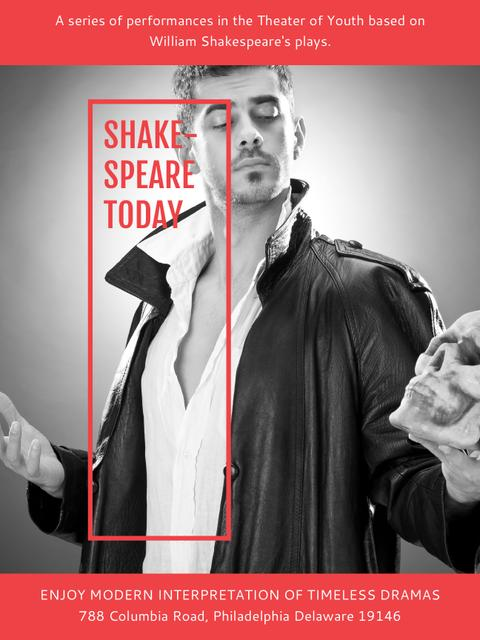 Theater Invitation Actor in Shakespeare's Performance Poster US Design Template