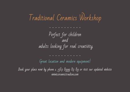 Traditional Ceramics Workshop promotion Postcard Modelo de Design