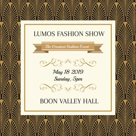 Fashion show Ad on Golden Feathers pattern Instagram Design Template
