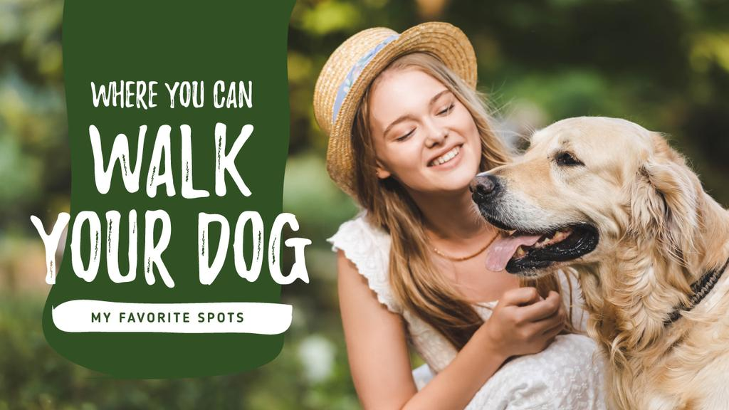 Dog Walking Services Girl with Golden Retriever — Створити дизайн