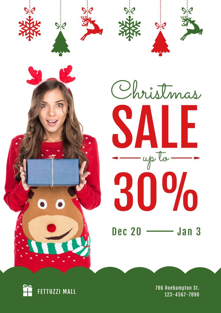 Christmas Sale with Woman Holding Present — ein Design erstellen