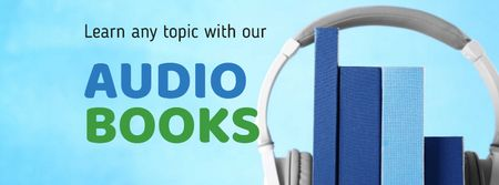 Plantilla de diseño de Audio books Offer with Headphones Facebook cover