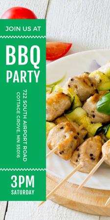 BBQ Party Grilled Chicken on Skewers Graphic Modelo de Design