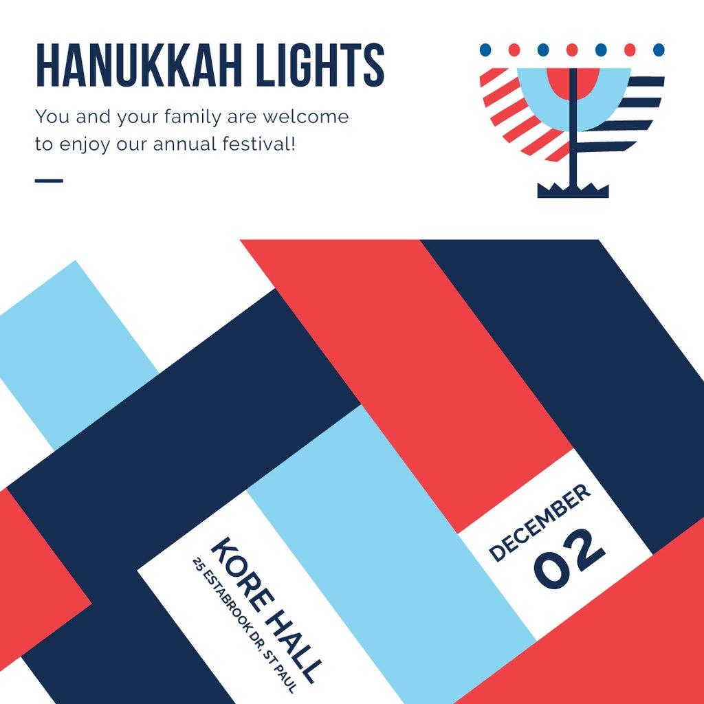Happy Hanukkah celebration invitation — Modelo de projeto