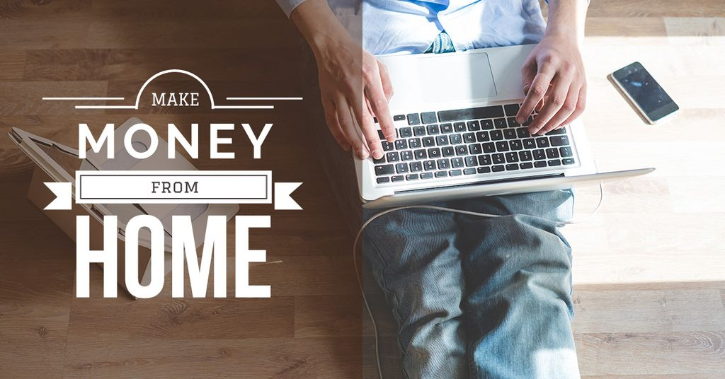 Make money from home banner with man typing on laptop — Crear un diseño