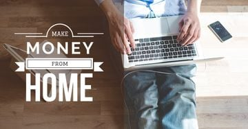 Make money from home banner with man typing on laptop