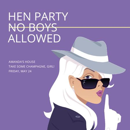 Hen Party invitation with Stylish Girl Instagram AD – шаблон для дизайну