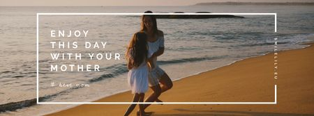 Mom and daughter by the sea on Mother's Day Facebook Video cover Modelo de Design