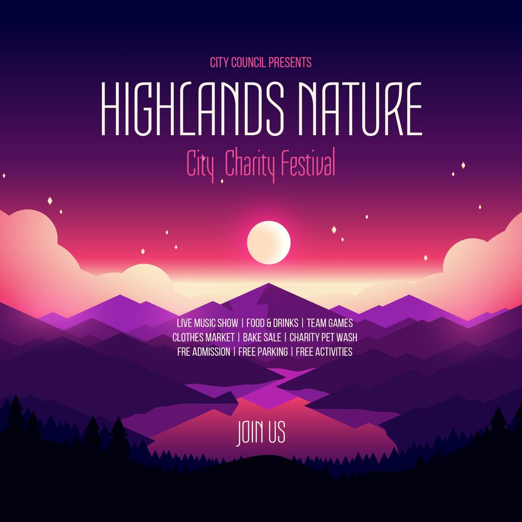 Charity Festival Announcement Night Mountains View Instagram Design Template