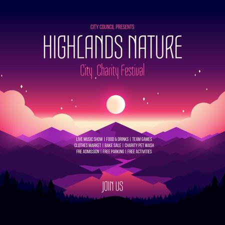 Plantilla de diseño de Charity Festival Announcement Night Mountains View Instagram