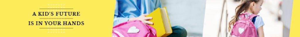Kids Future Quote Smiling Schoolgirl with Backpack — Créer un visuel