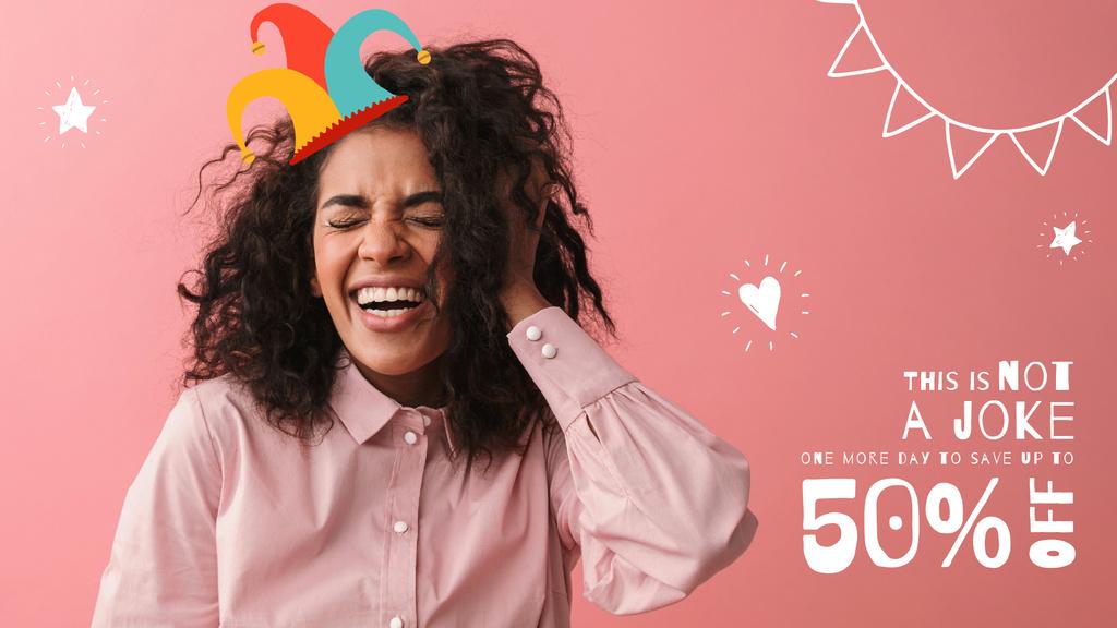 Fool's Day Offer Laughing Girl in Clown Hat — Maak een ontwerp