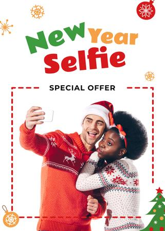 Ontwerpsjabloon van Flayer van New Year Offer Couple Taking Selfie by Fir Tree