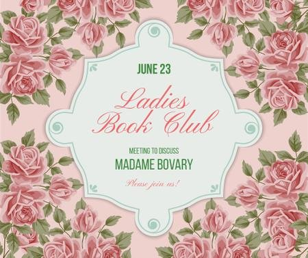 Szablon projektu Book Club Meeting announcement with roses Facebook