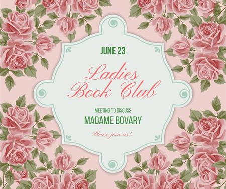 Book Club Meeting announcement with roses Facebook Modelo de Design