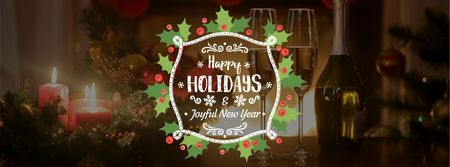 Winter Holidays Greeting Champagne and Candles Facebook Video coverデザインテンプレート