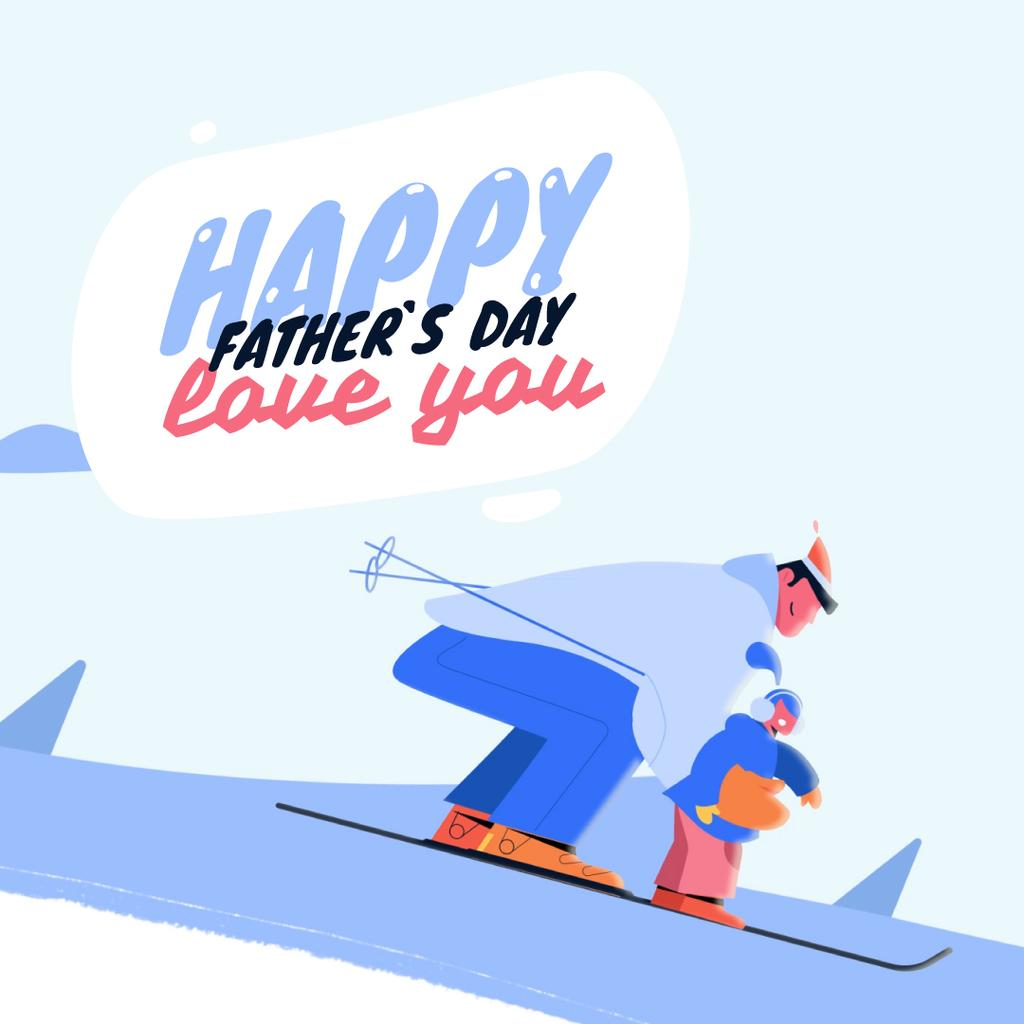 Father and Kid Skiing on Father's Day  — ein Design erstellen