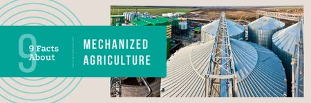 Ontwerpsjabloon van Email header van Agriculture with Large Industrial Containers