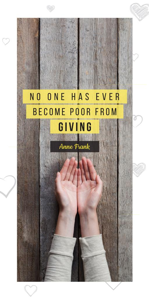 Charity Quote with Open Palms — Create a Design